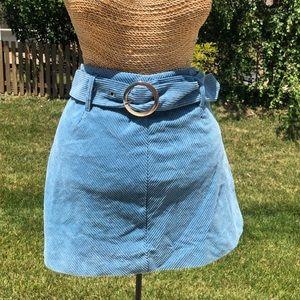 Blue corduroy belted skirt